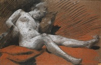 femme assoupie au canapé rouge by alfred roll
