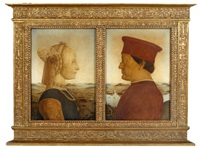 portraits of federico da montefeltro and battista sforza, duke and duchess of urbino (after piero della francesca) (pair) by lalli averardo