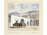 gossip at taxco (+ ox cart at santa catarina; pair) by charles oglesby longabaugh