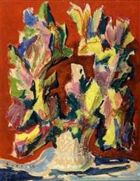 vase de fleurs sur fond rouge by georges fustier