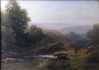 river landscape with figure by william (of plymouth) williams