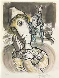 cirque au clown jaune by marc chagall