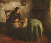 interior with mother and child by jacob simon hendrik kever