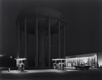 petit's mobil station and watertower, cherry hill, new jersey by george tice