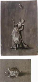 a girl sweeping with an owl on a branch above; a tortoise by jacob matthias weyer