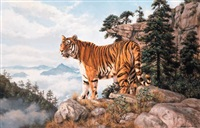 indo-chinese tiger - amoyan - on the mountainside by willem de beer