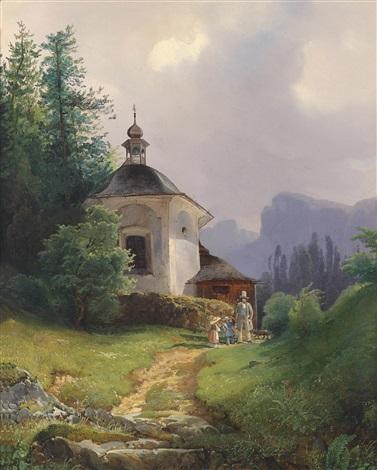 kapelle auf dem kalvarienberge in der lahn bei hailstadt hallstatt by josef holzer