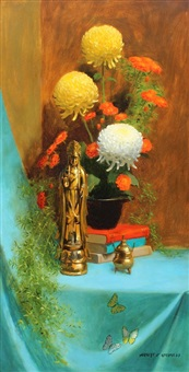 still life with chrysanthemums and oriental sculpture by herbert e. abrams