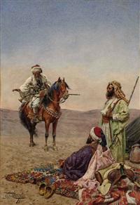 arab horsemen in a desert by giulio rosati