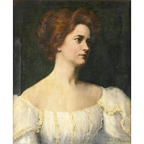 portrait of a woman in a white dress by carle john blenner