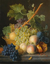 a still life with grapes and peaches in a basket, an open pomegranate, plums, black grapes and more peaches, all on a marble ledge by jan frans van dael