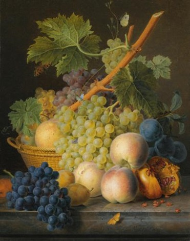a still life with grapes and peaches in a basket an open pomegranate plums black grapes and more peaches all on a marble ledge by jan frans van dael