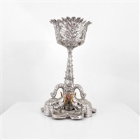floor ice bucket stand with elephant form base by arthur court