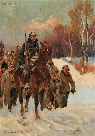 reconnaissance a cold winter march 2 works by woiciech aldabert ritter von kossak