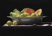 white plums, papayas, and melon by renato meziat