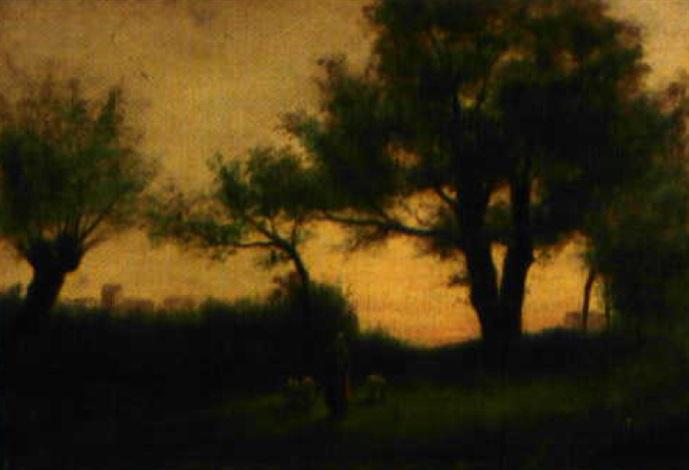 bergère et ses moutons au crépuscule by edouard the younger adam