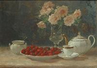 stilleven met rozen en aardbeien by léon riket