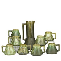 leopard skin crystalline assembled cider set: pitcher and eight tankards (9 works) by fulper pottery
