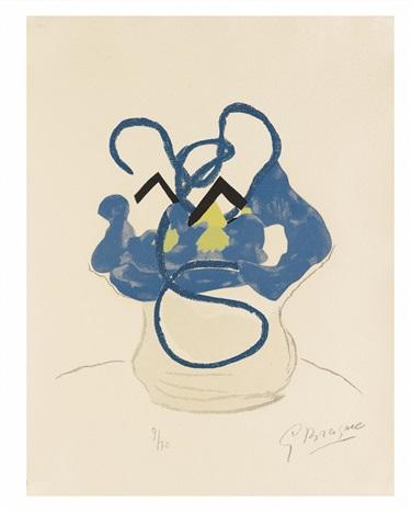 bouquet de fleurs bleues by georges braque