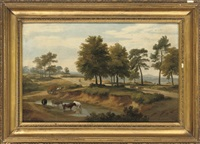 an extensive wooded river landscape with cattle watering, figures on a path by ramsay richard reinagle