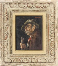 the old hunter (+ a portrait of a man in a green coat; pair) by franz xavier wölfle