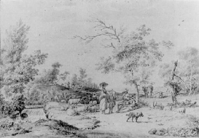 herdsmen by a stream in a wooded landscape by jordanus hoorn
