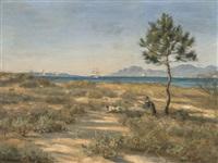 chasseur et son chien d'arrêt sur un littoral provençal by jules masuré