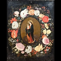 madonna col bambino entro ghirlanda di fiori by frans francken the younger and andries danielsz