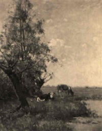 cows on a riverbank by gerard altmann