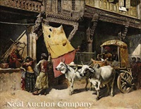 bullock cart before stores and houses, ahmedabad, india by edwin lord weeks