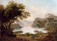 a river landscape with a pyramid, with classical figures on a bank by pierre péquignot