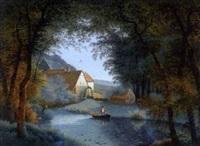 paysage boisé avec un moulin à eau by louis gadbois
