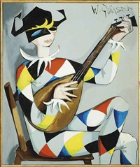 clown playing a lute by wilhelm goliasch