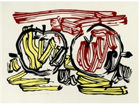 red apple and yellow apple (from seven apple woodcut series) by roy lichtenstein