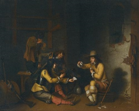 four soldiers in a guardroom smoking drinking and playing cards by gerbrand van den eeckhout
