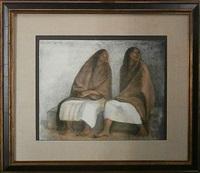 dos mujeres sentadas con rebozos by francisco zúñiga
