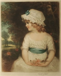 young girl with a white summer dress, simplicity by elizabeth gulland