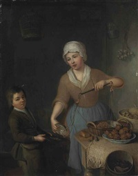 a maid and a boy weighing hazelnuts by frans van der myn