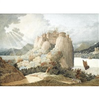 a castle on a cliff overlooking a lake by richard dadd