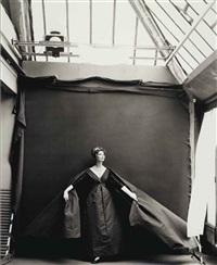 suzy parker, evening dress by dior, paris studio, august 1956 by richard avedon