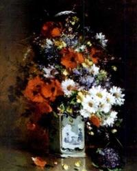 fleurs dans un vase de delft by gilbert martin