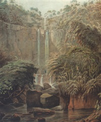 the falls of motjarna, near sakrigali by robert hyde colebrooke