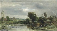 ducklings on a lake by charles françois daubigny