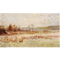 marine view (+ landscape in autumn; 2 works) by maurice dainville