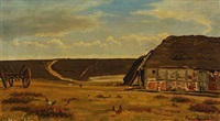 thatched farmhouse on the moor by hans ludvig smidth