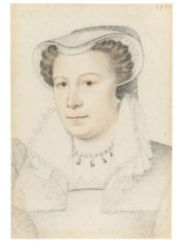 portrait of a woman with a veiled cap and lace collar by françois quesnel