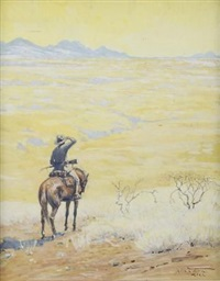 lone scout on horseback by hans anton aschenborn