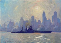 """h.m.s. hood"" in new york harbor with a view of the new york skyline by victor quistorff"