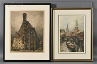 two views: minoritenkirche, vienna; and zoll canal, hamburg (kasimir, 229) by luigi kasimir