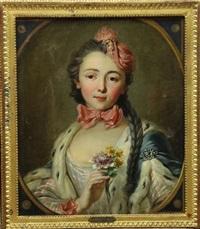 portrait de femme au bouquet de fleurs by charles-antoine coypel